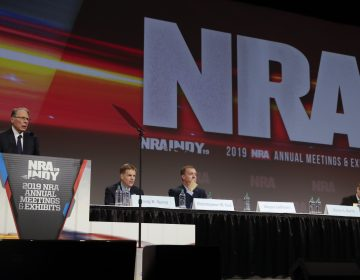 National Rifle Association Chief Executive Wayne LaPierre speaks at the NRA Annual Meeting in Indianapolis in April. (AP Photo/Michael Conroy)