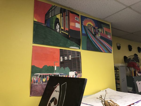 Art made by members adorns the walls of the Creative Vision Factory. (Cris Barrish/WHYY)
