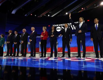 Democratic presidential candidates are introduced for the Democratic presidential primary debate hosted by ABC on the campus of Texas Southern University Thursday, Sept. 12, 2019, in Houston. (AP Photo/Eric Gay)