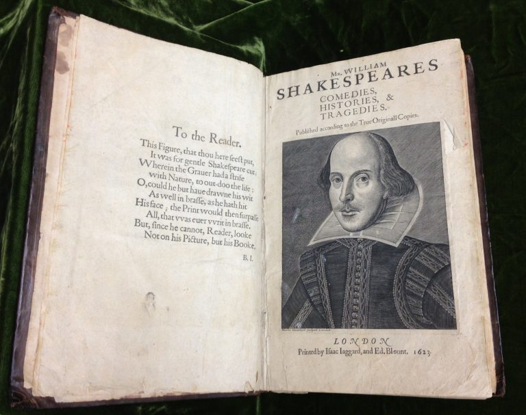 A copy of a nearly 400-year old folio of plays by William Shakespeare in the Rare Book Department of the Free Library was found to have notes scribbled in the margins by the 17th century poet who wrote 'Paradise Lost,' John Milton. (Courtesy of the Free Library)