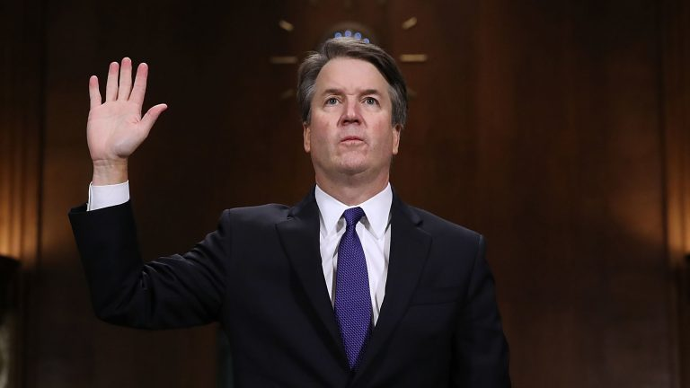 Judge Brett Kavanaugh is sworn in before testifying to the Senate Judiciary Committee during his Supreme Court confirmation hearing on Sept. 27, 2018. (Win McNamee/Getty Images)