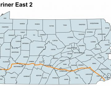 The map shows the Mariner East 2 pipeline's path across 17 Pennsylvania counties on its way to the Marcus Hook industrial complex in Delaware County, where the natural gas liquids it carries will be shipped overseas to make plastics. The map was built using state Department of Environmental Protection shapefiles of the route for which DEP issued permits. The line extends west into Ohio. (Scott Blanchard/StateImpact Pennsylvania)