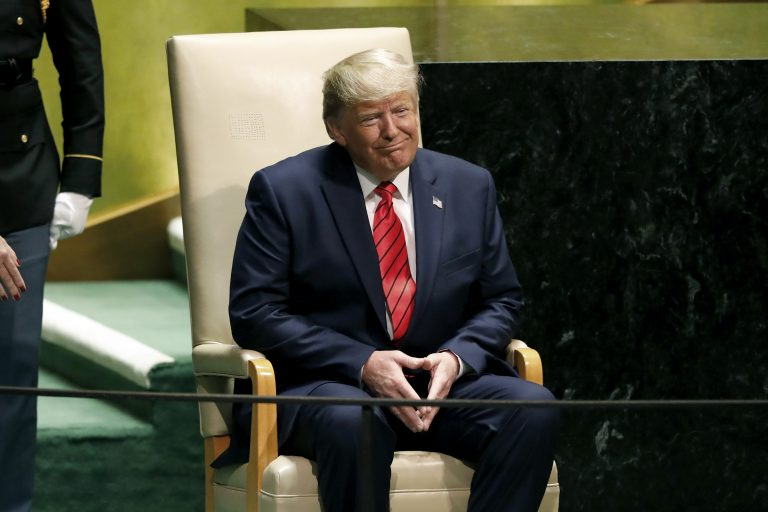 U.S. President Donald Trump reacts to audience applause after his address to the 74th session of the United Nations General Assembly, Tuesday, Sept. 24, 2019. (AP Photo/Richard Drew)