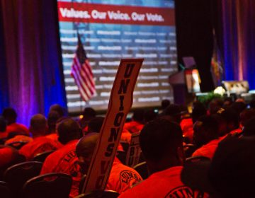 Union members attended the Worker's Presidential Summit at the Pennsylvania Convention Center in Philadelphia. (Kimberly Paynter/WHYY)