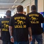 Members of the Roofers Local 130 attend the Worker's Presidential Summit. (Kimberly Paynter/WHYY)