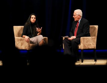 Safa Al Ahmad speaks with UD's Ralph Begleiter on Wednesday night. (Saquan Stimpson for WHYY)