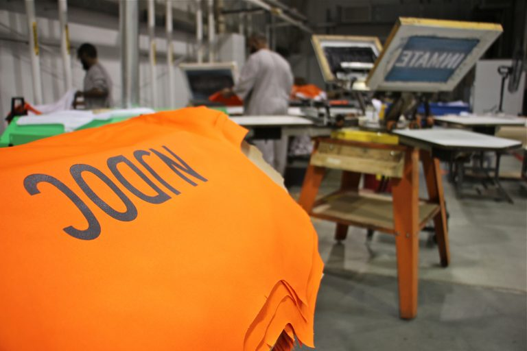 Prisoners make clothing for the New Jersey Department of Corrections. (Emma Lee/WHYY)