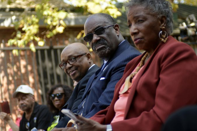 An official Pennsylvania historical marker is unveiled at the Bethel Burying Ground, located under the site of Weccacoe Playground, in Queen Village, on Tuesday. (Bastiaan Slabbers for WHYY)