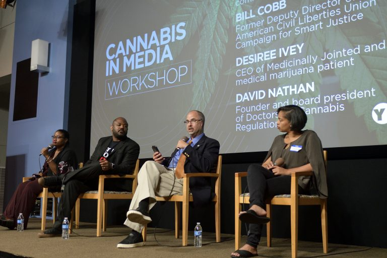 Imani Dawson moderates a panel with William Cobb, David Nathan and Desiree Ivey, at a cannabis in the media workshop at WHYY. (Bastiaan Slabbers for WHYY)