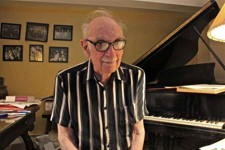 Composer George Crumb is pictured in his studio, in a converted garage at his home in Media, Pa. (Emma Lee/WHYY)
