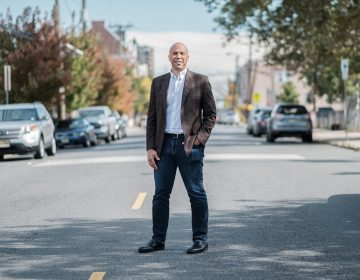 Senator and 2020 presidential candidate Cory Booker is seen outside of Vonda's Kitchen in Newark, N.J. on Oct. 12, 2019, ahead of an NPR-moderated discussion with voters. (A.J. Chavar for NPR)