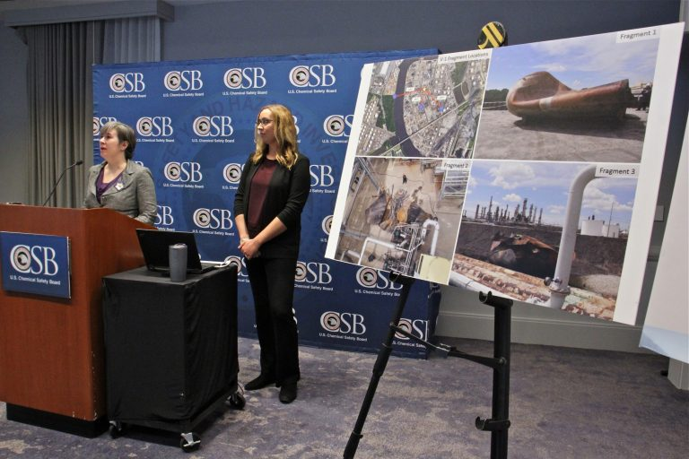 Kristen Kulinowski (left), interim executive of the U.S. Chemical Safety Board, and Supervisory Invetigator Lauren Grim, talk about the causes and results of the June 21 fire and explosion at Philadelphia Energy Solutions refinery. (Emma Lee/WHYY)