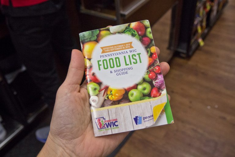 A 2018-19 WIC food guide at a supermarket in South Philadelphia. (Kimberly Paynter/WHYY)