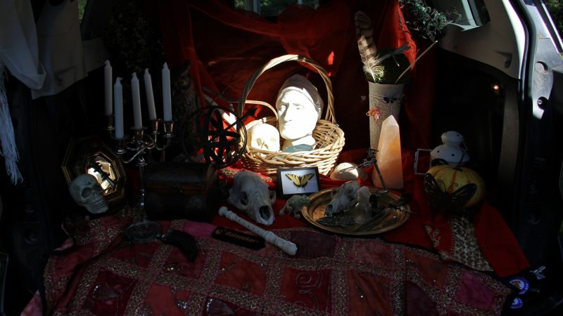 A bust of Johannes Kelpius is among the artifacts used by Kris Soffa to tell the story of the 17th century mystic, who brought his doomsday cult to the wilderness of the Wissahickon to await the apocalypse. (Emma Lee/WHYY)
