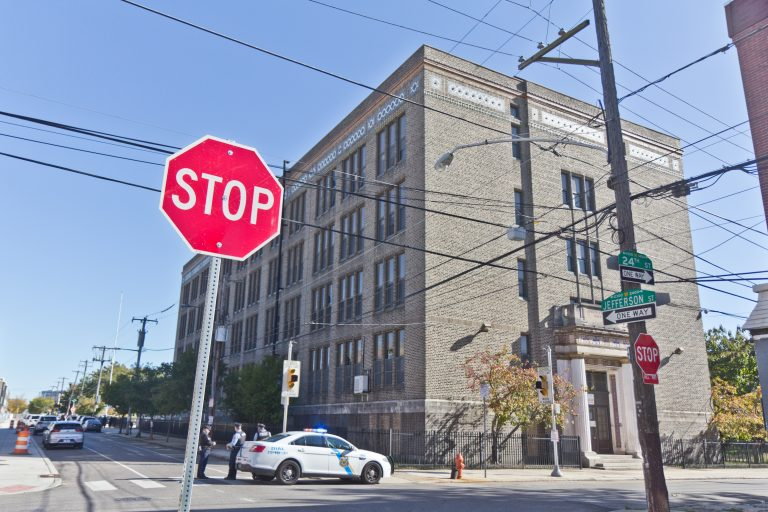 The former John F Reynolds school building will receive environmental testing as part of a grant form the federal EPA to the PHA. (Kimberly Paynter/WHYY)