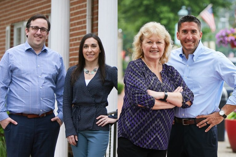 Democratic candidates (from left) Mark Natale and Gina LaPlaca and Republicans (from right) Ryan Peters and Jean Stanfield are vying to represent the 8th District in New Jersey's state Assembly. (Photos from candidates' Facebook pages)