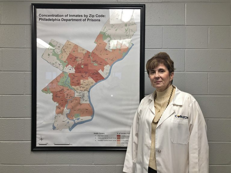 Debra D'Aquilante, an infectious disease specialist at Corizon Health, is heading the new hepatitis C treatment effort at the Philadelphia Department of Prisons. (Nina Feldman/WHYY)