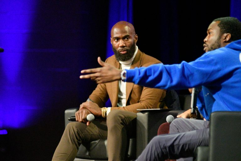 Malcolm Jenkins and Meek Mill at the Players Coalition Town Hall on Policing in the city, at Community College of Philadelphia, on Monday. (Bastiaan Slabbers for WHYY)