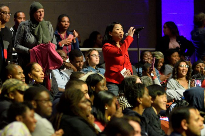 Councilwoman Helen Gym asks a question for panelists during the Players Coalition Town Hall. (Bastiaan Slabbers for WHYY)