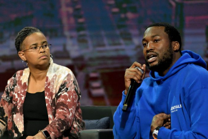 Meek Mill at the Players Coalition Town Hall on Policing in Philadelphia.(Bastiaan Slabbers for WHYY)