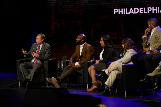 Brian Abernathy, Managing Director, City of Philadelphia, speaks at a Town hall on the future of policing in the city of Philadelphia at Community College of Philadelphia, on Monday. (Bastiaan Slabbers for WHYY)