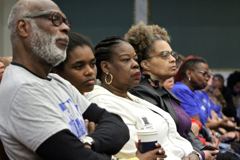 Audience members at Philadelphia City Council listen to testimony on a bill that would guarantee legal counsel to those facing eviction. (Emma Lee/WHYY)