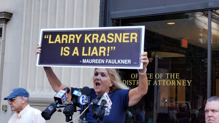 Maureen Faulkner expresses her feelings outside of the Philadelphia District Attorney's office. (Tom MacDonald/WHYY)