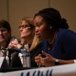 Monica Taylor, Delaware County Council vice chair, responds to a question during a debate at Villanova University on Thursday, Oct. 10, 2019. (Kriston Jae Bethel for WHYY)