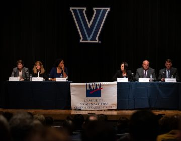 Democrat and Republican candidates for Delaware County Council spar during a debate at Villanova University on Thursday, October 10, 2019. (Kriston Jae Bethel for WHYY)