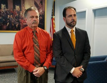 Frank Nucera Jr., left, with his defense attorney Rocco Cipparone. (Nicholas Pugliese/WHYY)