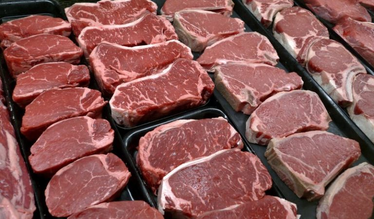 In this Jan. 18, 2010 file photo, steaks and other beef products are displayed for sale at a grocery store in McLean, Va. (J. Scott Applewhite/ AP Photo)