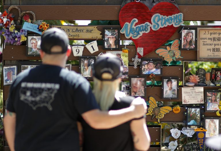 People visit a memorial garden for victims of a mass shooting in Las Vegas, Thursday, Oct. 3, 2019, in Las Vegas. (John Locher/AP Photo)
