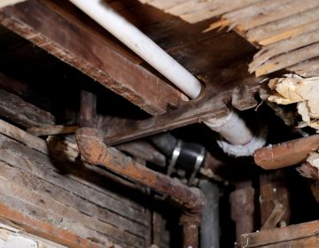 FILE - In this Nov. 8, 2018, file photo, a lead pipe, left, is seen in a hole the kitchen ceiling in the home of Desmond Odom, in Newark, N.J. (AP Photo/Julio Cortez, File)