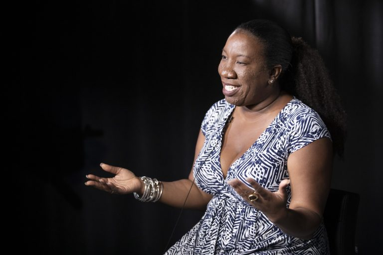 In this Friday, Oct. 11, 2019, photo Tarana Burke, founder and leader of the #MeToo movement, gestures as she speaks during an interview, in New York. (Mary Altaffer/AP Photo)
