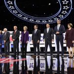 Democratic presidential candidates stand on stage for a photo before a primary debate hosted by CNN and The New York Times at Otterbein University, Tuesday, Oct. 15, 2019, in Westerville, Ohio. (Tony Dejak/AP Photo)