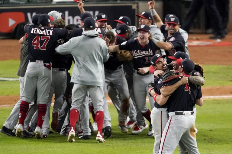 Washington Nationals celebrate after Game 7 of the baseball World Series against the Houston Astros Wednesday, Oct. 30, 2019, in Houston. The Nationals won 6-2 to win the series. (Eric Gay/AP Photo)