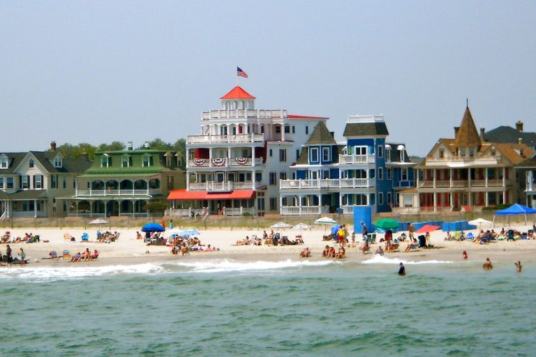 Victorian houses along the beach in Cape May.
