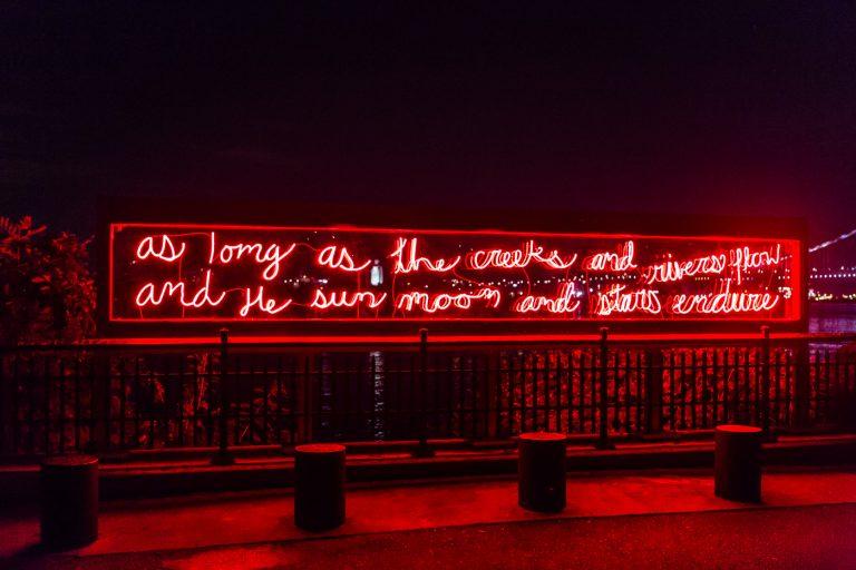 'In Perpetuity' by Duane Linklater, at Penn Treaty Park.  (Steve Weinik/Monument Lab)