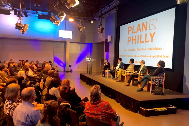 PlanPhilly's Managing Editor, Ariella Cohen, introducing the panel. To her immediate left sits Paul Farber followed by Karyn Olivier, Ori Feibush and Faye Anderson. (Emily Gann/WHYY)