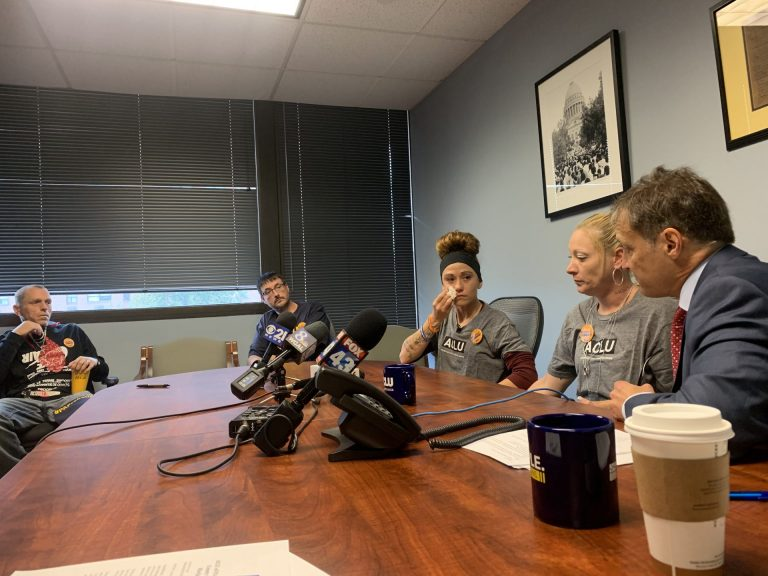 ACLU Legal Director Vic Walczak with plaintiffs Melissa Gass and Ashley Bennett. (Katie Meyer / WITF)