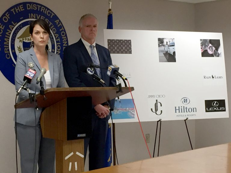 Delaware County District Attorney Kat Copeland and Criminal Investigation Division Chief Joseph Ryan announce charges against Gloria Byars and Keith and Carolyn Collins for defrauding seniors out of more than $1 million. (Dana Bate/WHYY)