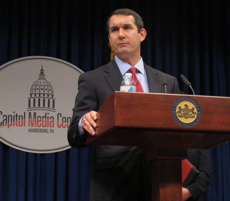 Auditor General Eugene DePasquale discussing one of the many audits he has conducted over the past several years. (Marie Cusick/StateImpact Pennsylvania)