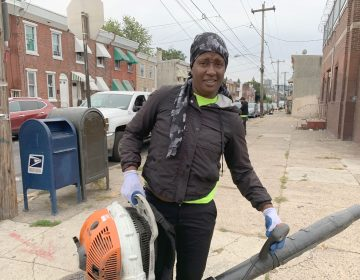 Streets Department employee Shaketa Armstead worries about her health every day she's on the job, in part because the low-quality safety equipment the city provides. (Aaron Moselle/WHYY)