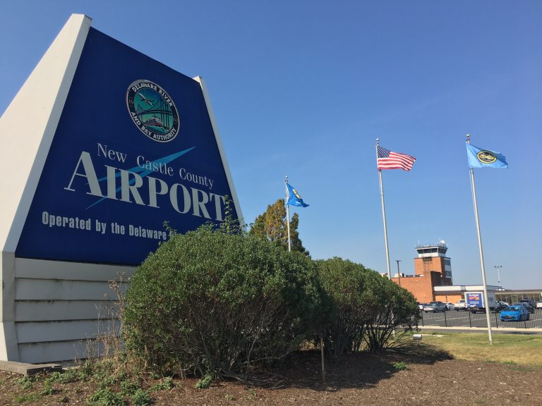 A task force will explore new uses for the Wilmington Airport, formerly called the New Castle County Airport as seen on the sign out front. (Mark Eichmann/WHYY)