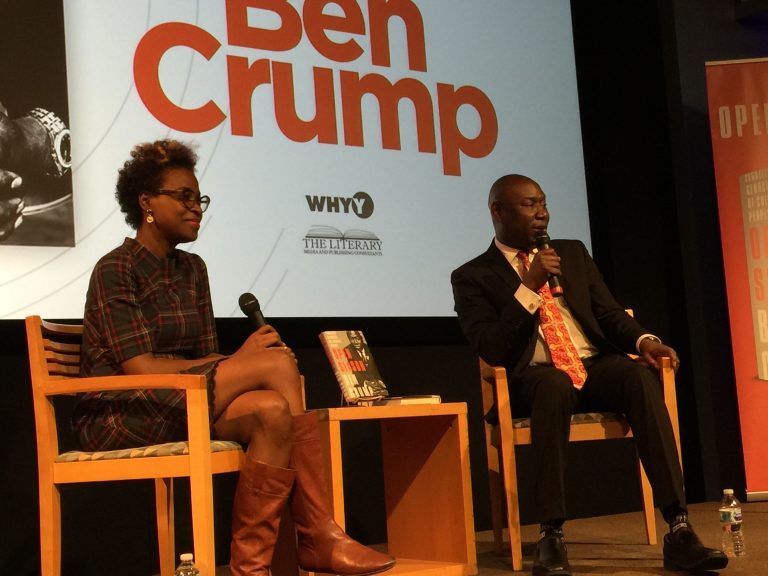 Civil rights attorney Ben Crump speaking with AP reporter Errin Haines about his new book 'Open Season: Legalized Genocide of Colored People' at WHYY studios on October 21, 2019.(Eugene Sonn/WHYY)