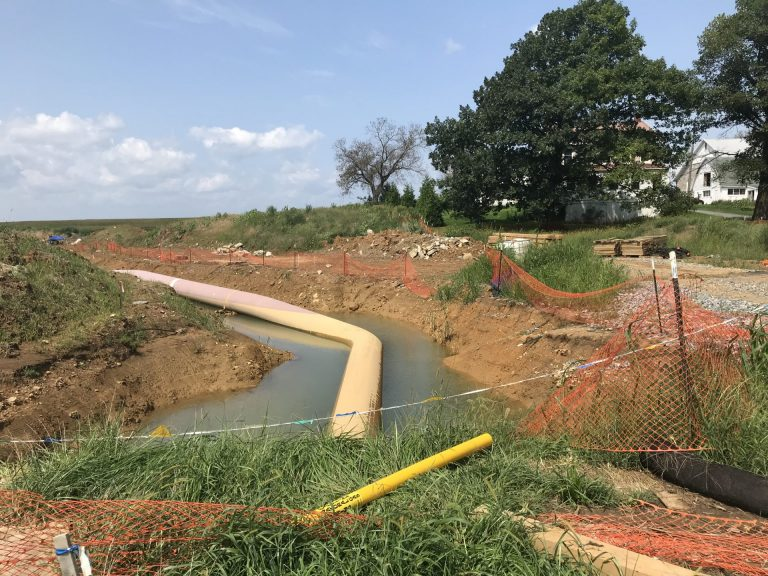 Heavy rains flood a trench where the Atlantic Sunrise pipeline is being installed August 22, 2018 in Lebanon County. (Marie Cusick/StateImpact Pennsylvania)
