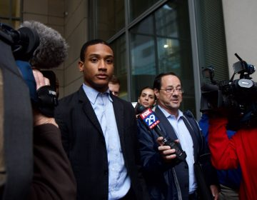 Michael White leaves court after a jury found him not guilty of voluntary manslaughter in the stabbing of real estate developer Sean Schellenger. (Kimberly Paynter/WHYY)