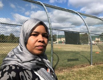 "Madinah Brown has filed federal and state discrimination complaints for the right to wear her hijab to work. The detention center policy says attire should not ""pose unnecessary safety risks."" (Cris Barrish/WHYY)"
