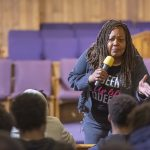 Guardian Civic League President and Philadelphia Sherriff Rochelle Bilal explains to a  young audience on best practices for encounters with police officers when they are stopped for questioning. (Jonathan Wilson for WHYY)