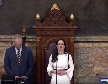 State Rep. Stephanie Borowicz delivers an invocation on March 25, 2019, in the state House. (Screenshot from video)